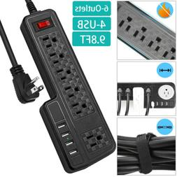 10ft Power Strip Surge protector with 4 USB ports White Flat