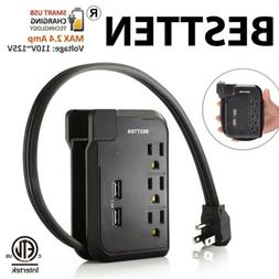 Bestten 3 Outlet Mini Travel Charger Surge Protector with Du