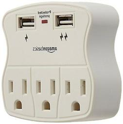3-Outlet Surge LED Protector Sleek Space-saving with 2 USB P