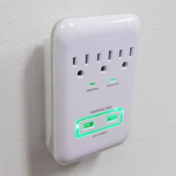 3-Outlet Surge Protector wall tap with 2 USB Ports 3.1A 900J