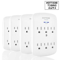 BESTTEN 6-Outlet Grounded Wall Tap Adapter Outlet Extender