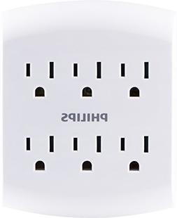 Philips 6 Outlet Outlet Adapter, Wall Tap Power Strip, Tampe
