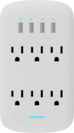 6 Outlet Wall Tap Surge Protector w/ 4 USB Ports 490J