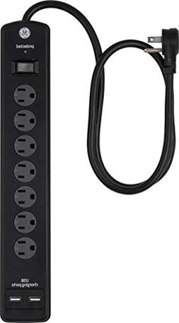 GE 7 Outlet Power Strip Surge Protector With 2 Port USB Char