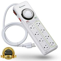 8 Outlet Power Strip 24hr Programmable Timer Surge Protector