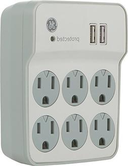GE 14273 6-Outlet Surge Protector Wall Tap with 2 USB PRT