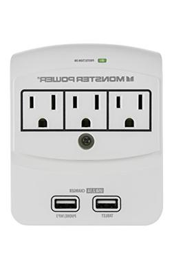 Monster Power Home Office 350 USB, 3 outlets, 2 USB connecto