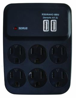 Woods 041052 Dual USB Charger 6-Outlet Surge Protector with