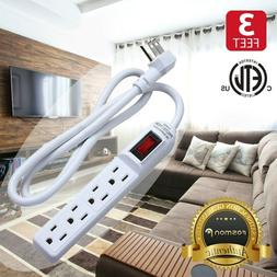Fosmon 2x 4 Outlet Surge Protector Power Strip Grounded Flat