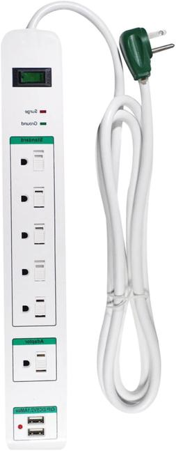 GoGreen Power GG-16326USB 6 Outlet Surge Protector with 2 US