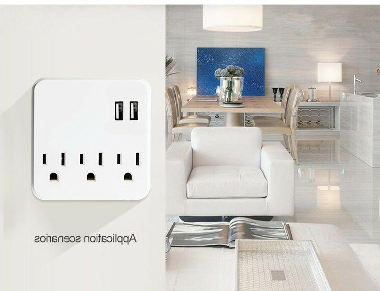 3-Outlet Protector 2 USB Charging LED Wall Tap Power