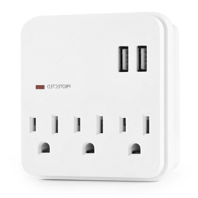3 outlet surge protector with 2 usb