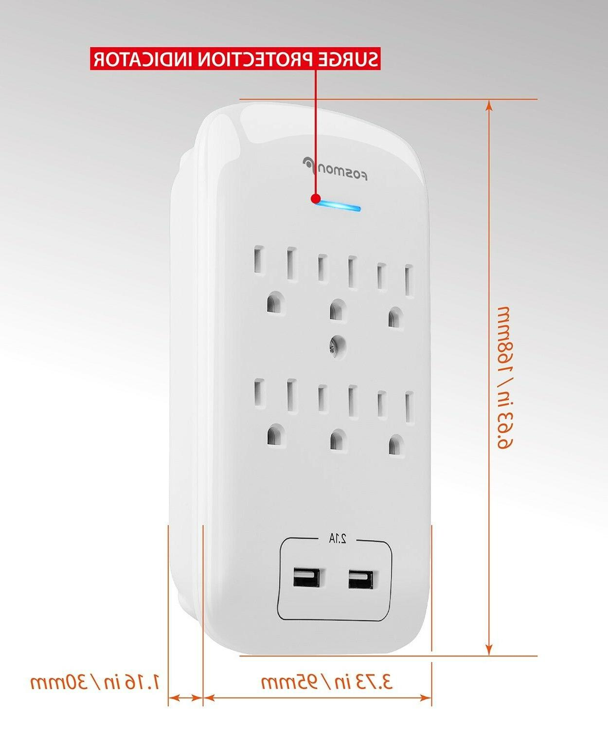 2 Pack Surge Protector Port Wall Tap