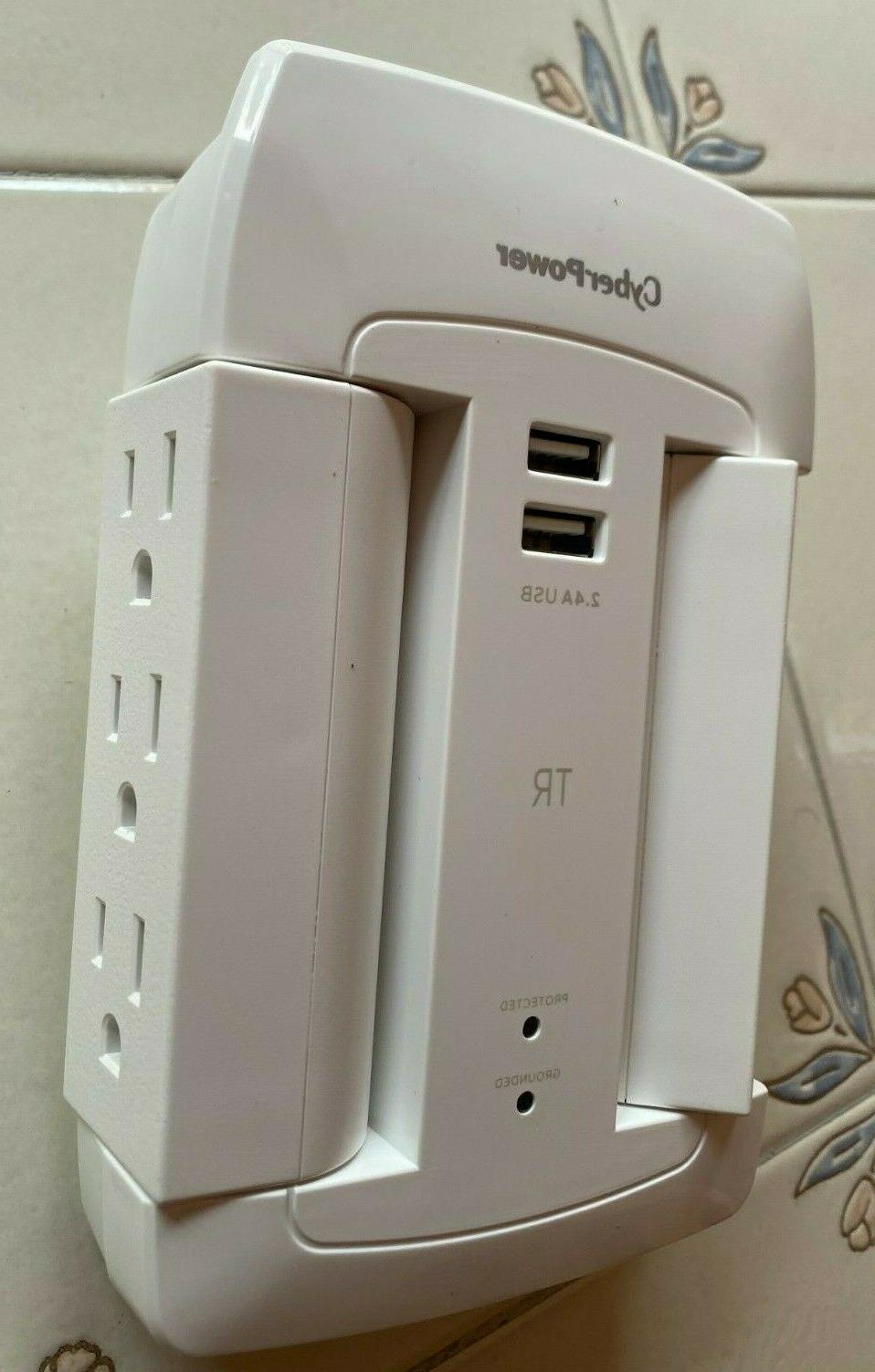 CyberPower 6 Outlet 1200J Power Protector USB Ports white