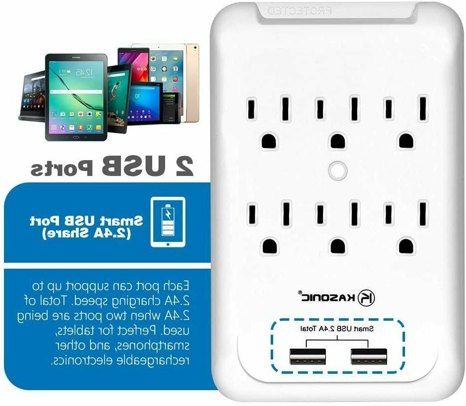 6 Surge with 2 USB Ports Wall