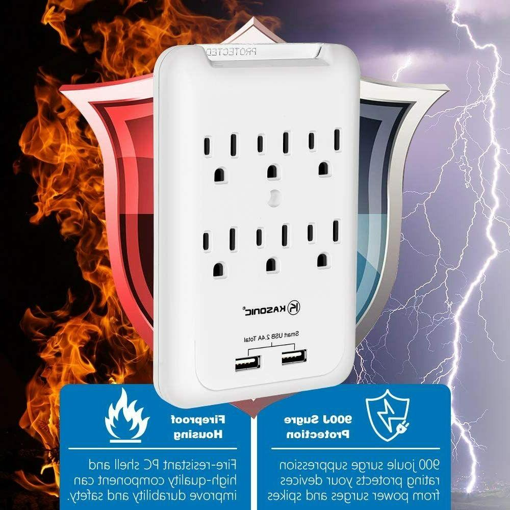 6 Outlet Surge Protector with 2 USB Ports Wall Tap-2Pack