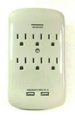 Luxtronic 6-Outlet Wall Tap with 2 USB Ports