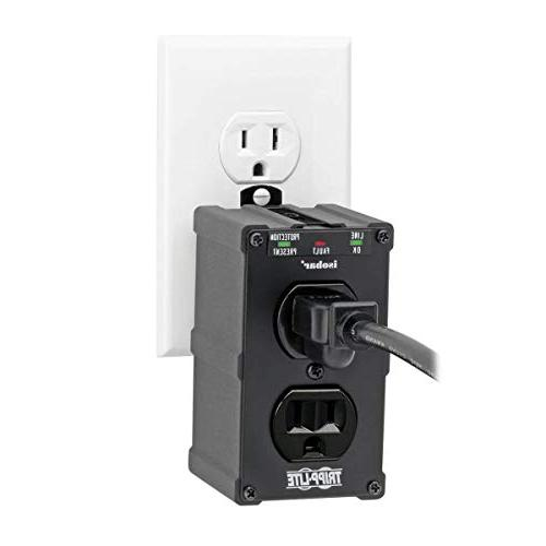 Tripp Isobar Outlet Surge Power Strip, Direct Plug In, Black, Metal, Warranty $10,000
