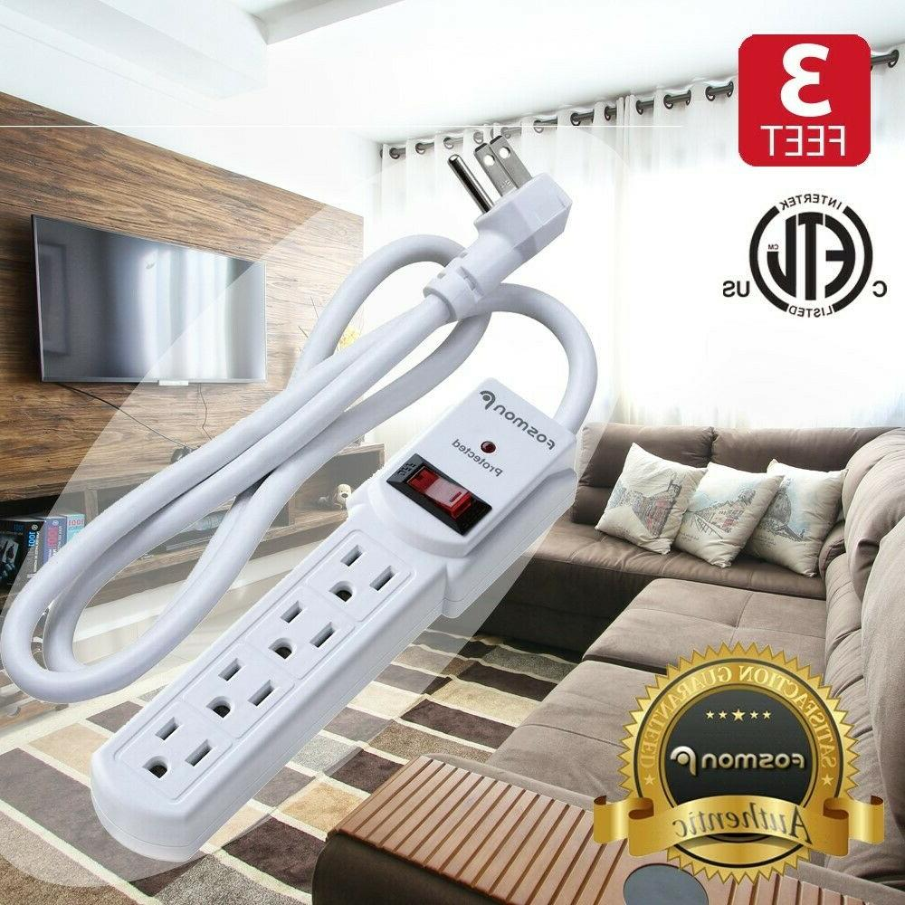 4 Outlet Surge Protector Power Strip Grounded Plug Extension Cord 3FT