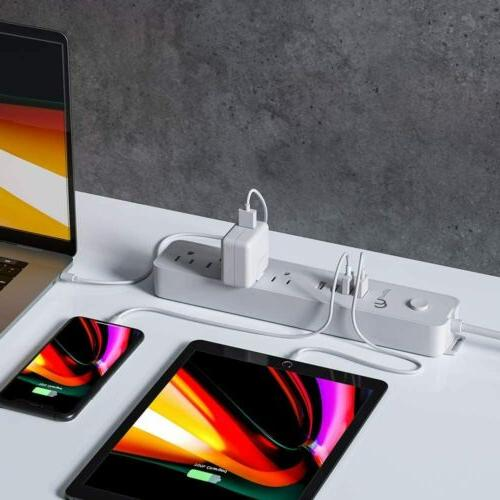 Power 4 Outlets 4 Charging Extension