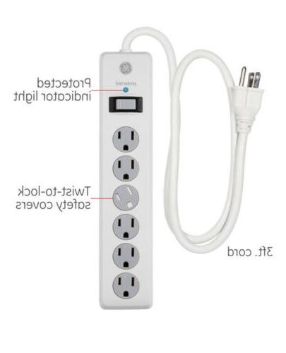 GE Power Strip Surge Protector, 6 Outlets, 3Ft Power Cord, 8