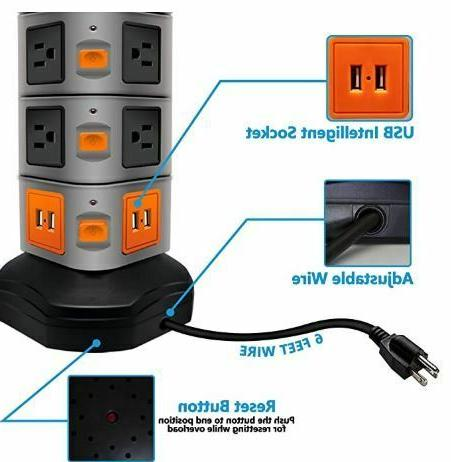 Surge Protector Charging Station,14Outl