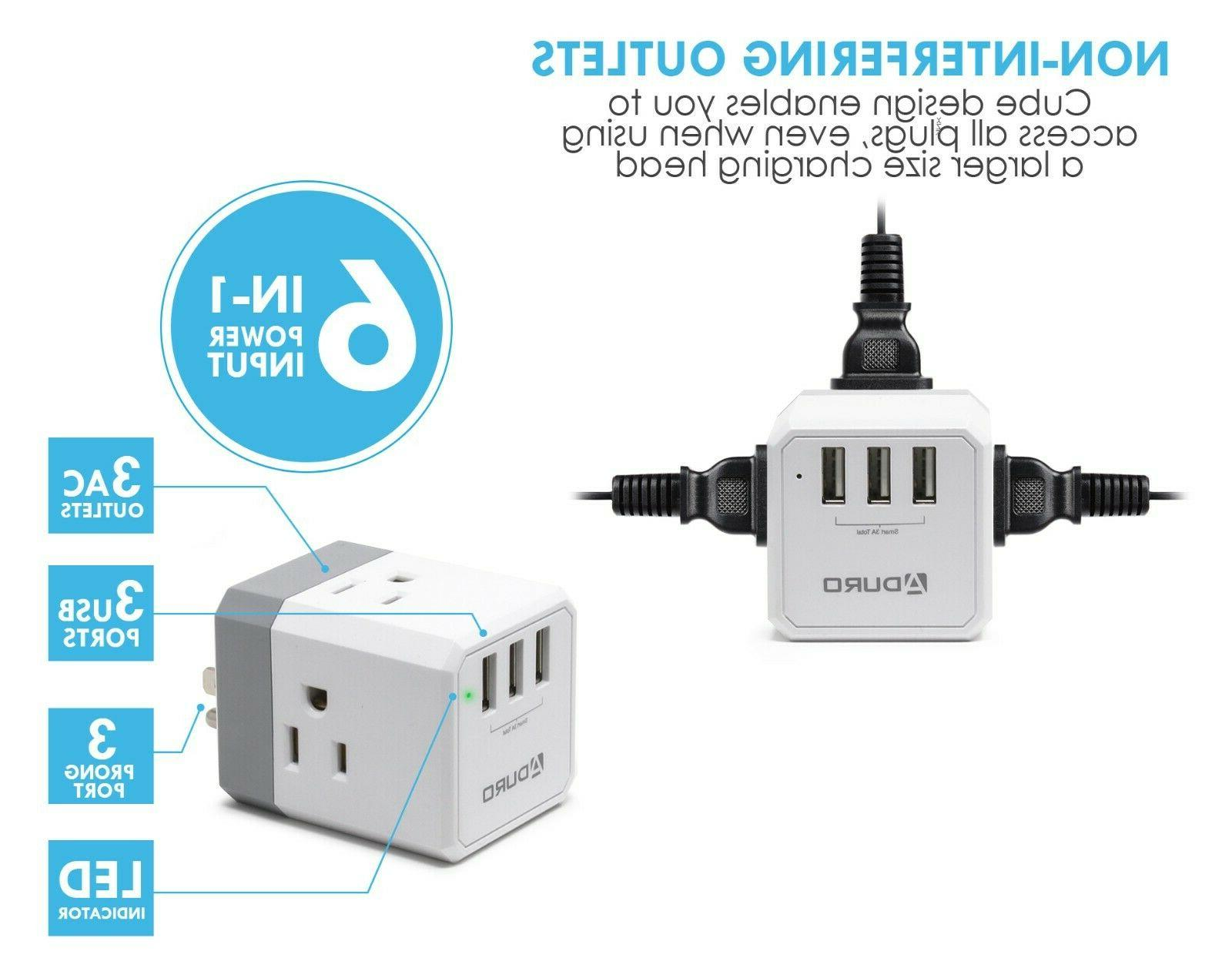 Aduro PowerUp Squared Outlet 3 Charging Station Travel