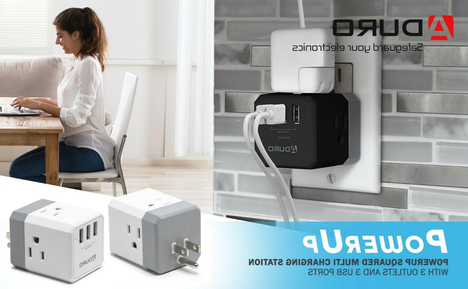 Aduro Squared Outlet Charging Station Travel