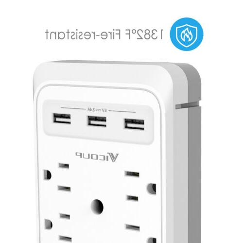 Socket Shelf-9 Port Surge Protector Home 6 Port