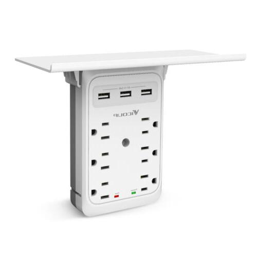 Socket Shelf-9 Protector Wall 6 Outlet USB Port