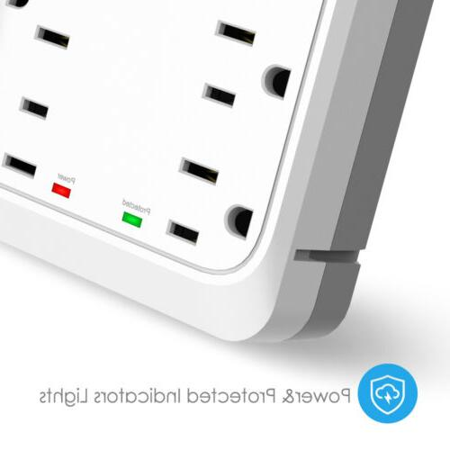 Socket Shelf-9 Protector Wall Outlet 6 USB Port