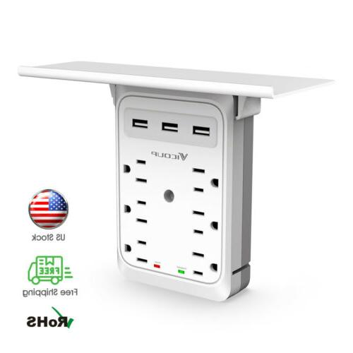 socket shelf 9 port surge protector home