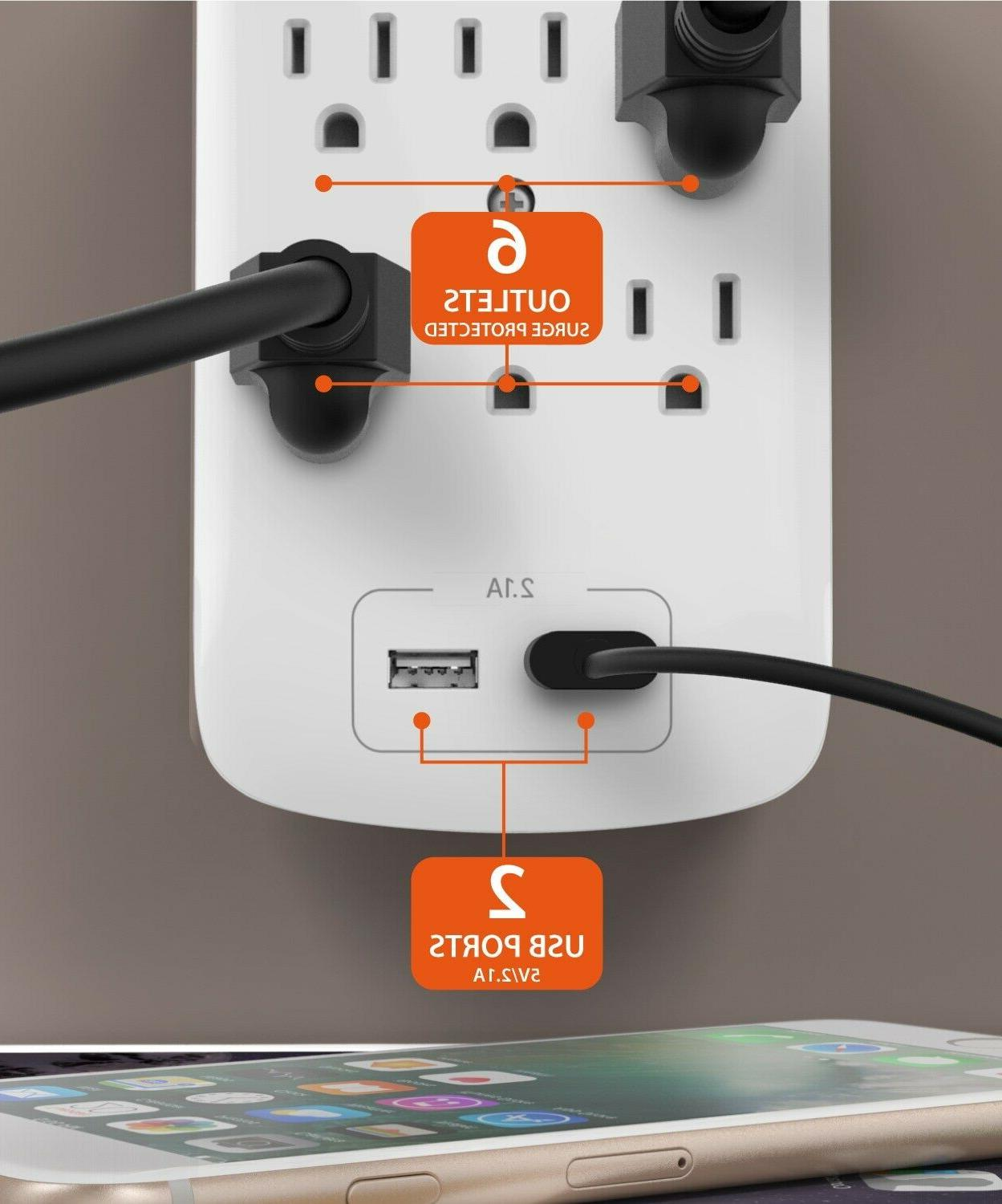 2 Outlet Surge 2 Port Charger Adapter Tap
