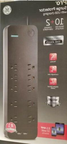 GE UltraPro Surge Protector 10 Outlets 2 USB Ports. Cord Bla