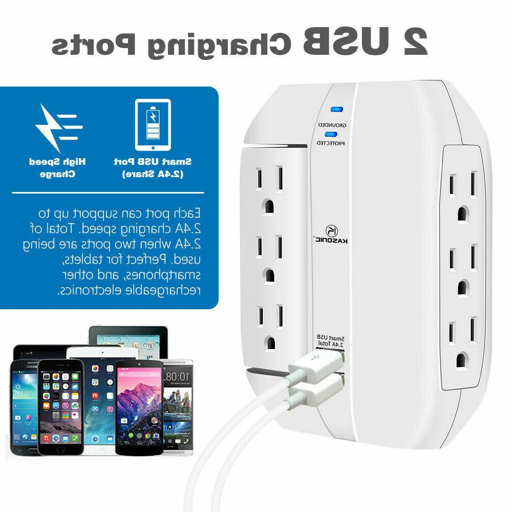 6 Grounded 2.4A USB Ports, Joule