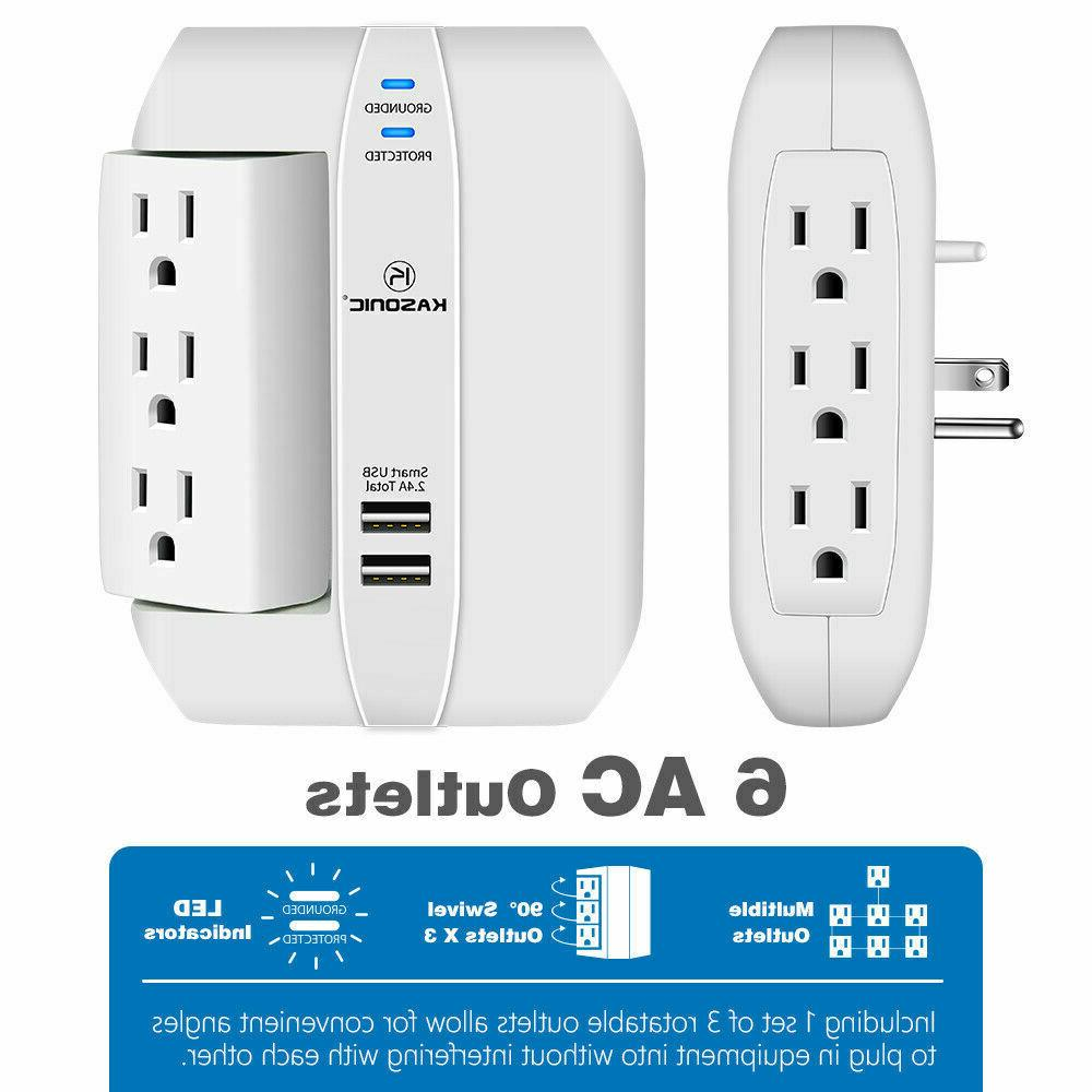Wall Outlet 6 Grounded 2.4A Ports, 1350
