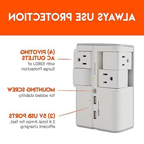ECHOGEAR with 4 Outlets & Ports Joules & On Outlets Protect Gear & Increase Capacity