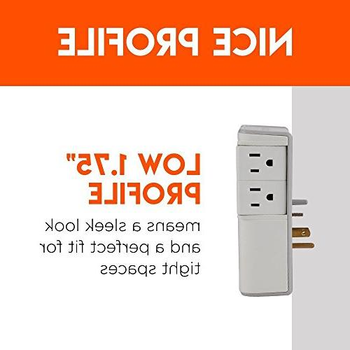 ECHOGEAR with 4 Pivoting AC Outlets & USB Ports – 1080 Joules of Surge & Installs On Outlets Your Gear & Increase Capacity