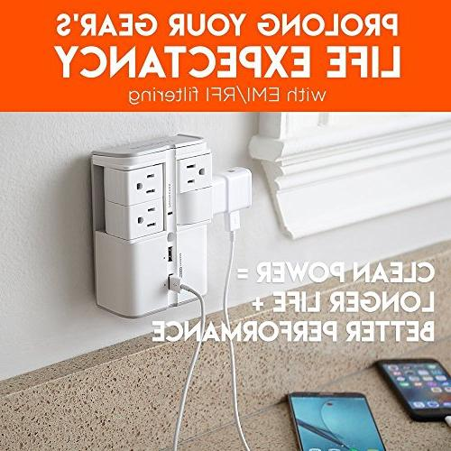 ECHOGEAR Surge with 4 AC Outlets & Ports 1080 Joules of Protection & Outlets Your Gear Capacity