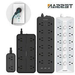 Multi Outlets Surge Protector Power Strip With 3 USB+Flat Pl