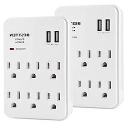 BESTTEN 6-Outlet with 2 USB Charging Ports , Wall Tap Mount