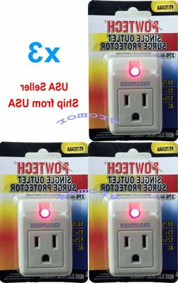 new 3 pack single outlet surge protector