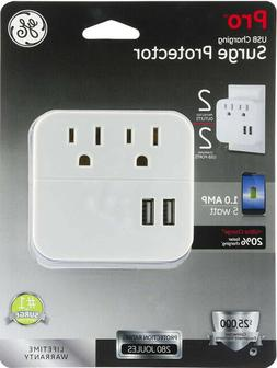 New! GE Pro Surge Protector 2 Outlets + 2 USB Lifetime Warra