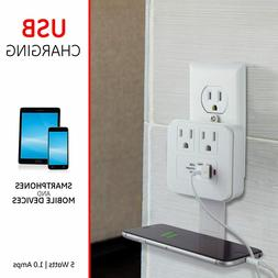 GE Outlet 2USB Surge Protect Tap,2Pack, Charging Station, Wa