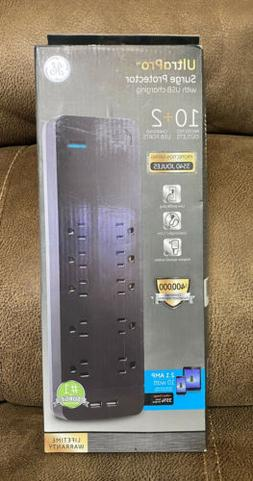 GE Power Strip Surge Protector with USB Charger, 10 Outlets,