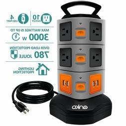 10 Outlet Surge Protector Power Strip With 4 USB Charger Por