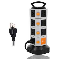 ONEreach Surge Protector Power Strip 15 Outlet Plugs with 2