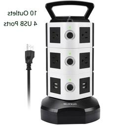 JACKYLED Power Strip Tower Surge Protector with 4 USB Ports