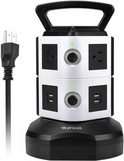 6 Outlet Plugs Surge Protector Power Strip Tower with 4USB P