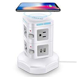 Power Strip Tower Wireless Charger - GLCON Surge Protector E